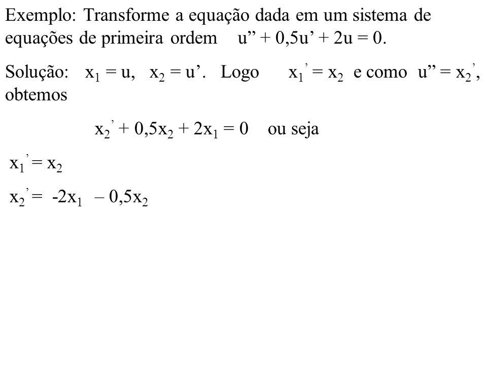 Exemplo: Transforme a equação dada em um sistema de equações de primeira ordem u + 0,5u + 2u = 0. Solução: x 1 = u, x 2 = u. Logo x 1 = x 2 e como u =