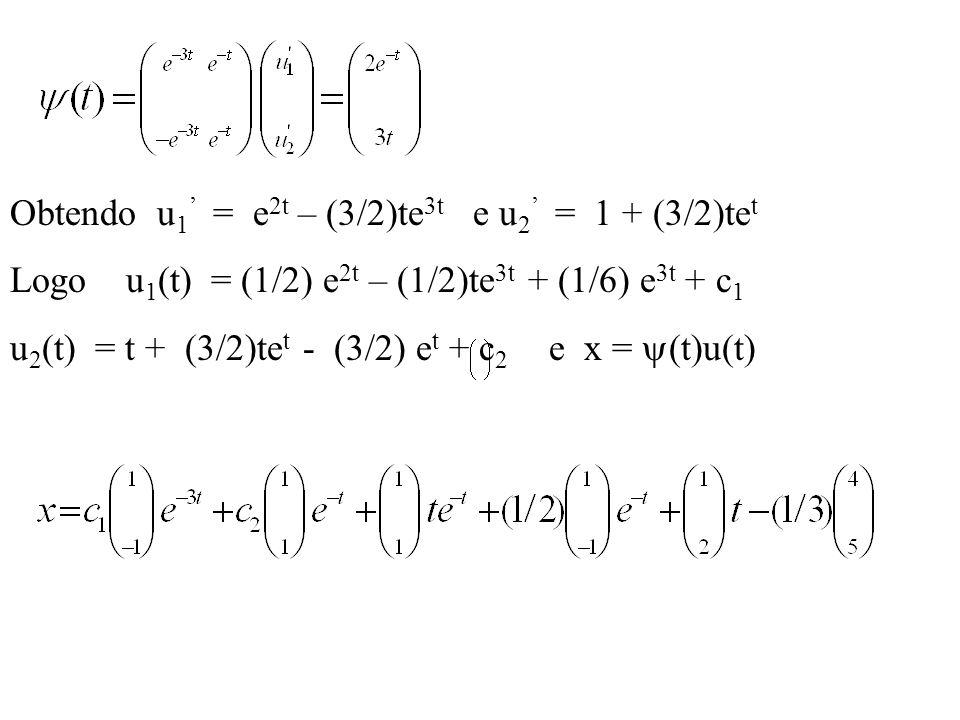 Obtendo u 1 = e 2t – (3/2)te 3t e u 2 = 1 + (3/2)te t Logo u 1 (t) = (1/2) e 2t – (1/2)te 3t + (1/6) e 3t + c 1 u 2 (t) = t + (3/2)te t - (3/2) e t +