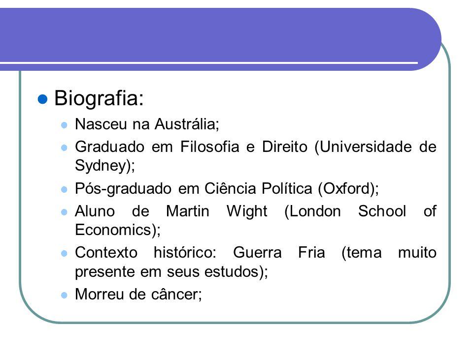 Biografia: Nasceu na Austrália; Graduado em Filosofia e Direito (Universidade de Sydney); Pós-graduado em Ciência Política (Oxford); Aluno de Martin W