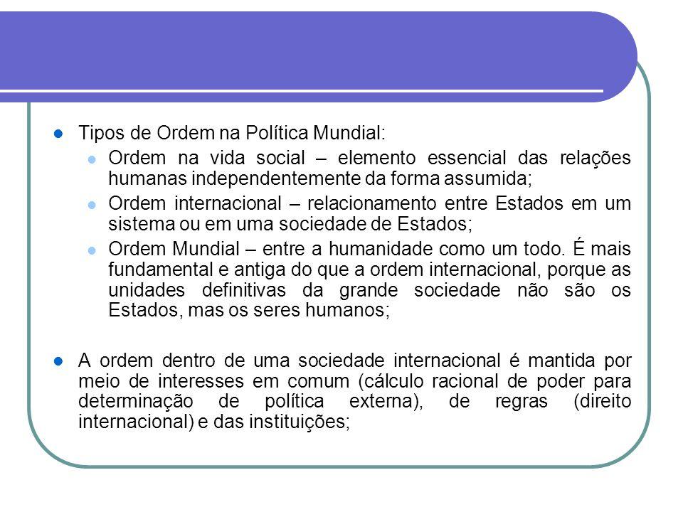 Tipos de Ordem na Política Mundial: Ordem na vida social – elemento essencial das relações humanas independentemente da forma assumida; Ordem internac