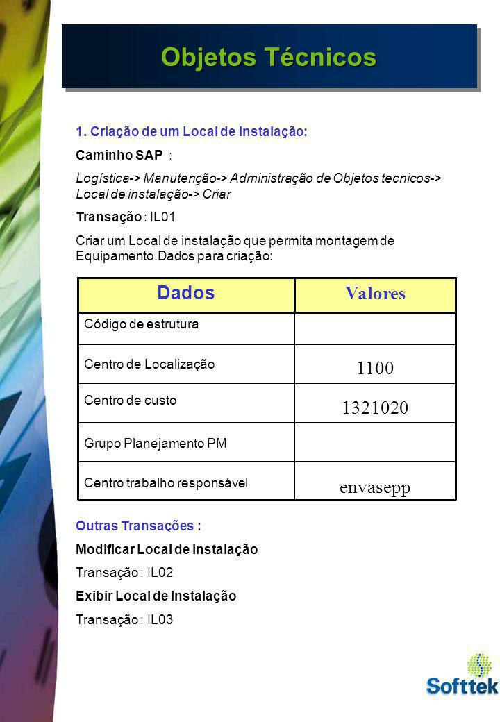 Objetos Técnicos 1. Criação de um Local de Instalação: Caminho SAP : Logística-> Manutenção-> Administração de Objetos tecnicos-> Local de instalação-