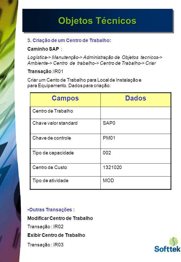 Objetos Técnicos 3. Criação de um Centro de Trabalho: Caminho SAP : Logística-> Manutenção-> Administração de Objetos tecnicos-> Ambiente-> Centro de