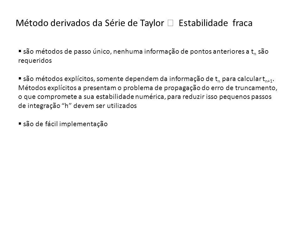 Método derivados da Série de Taylor Estabilidade fraca são métodos de passo único, nenhuma informação de pontos anteriores a t n são requeridos são mé