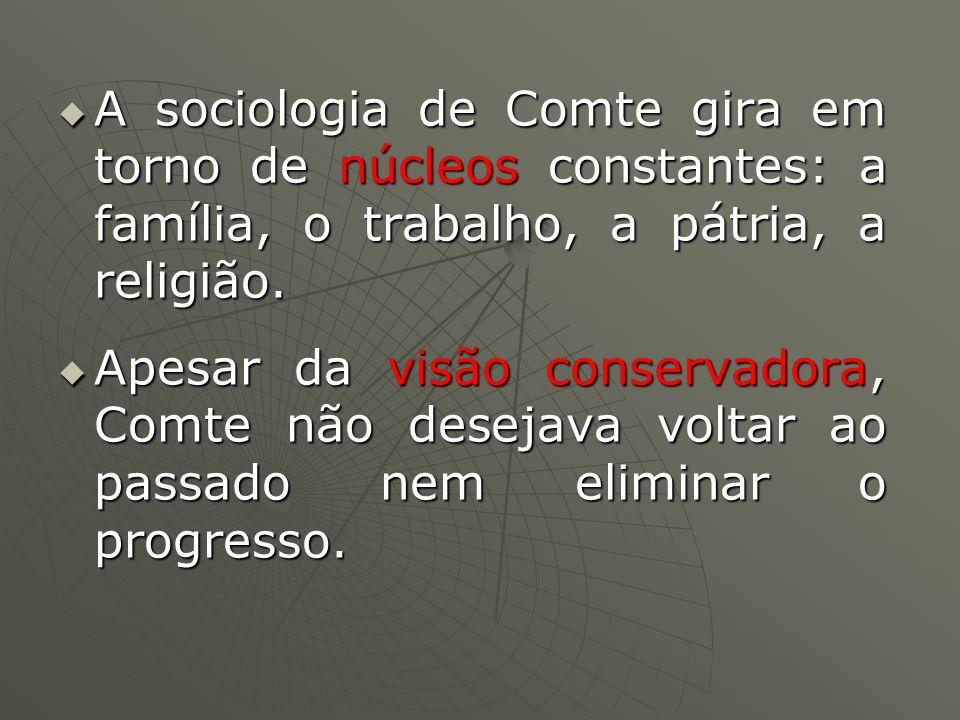 A sociologia de Comte gira em torno de núcleos constantes: a família, o trabalho, a pátria, a religião. A sociologia de Comte gira em torno de núcleos
