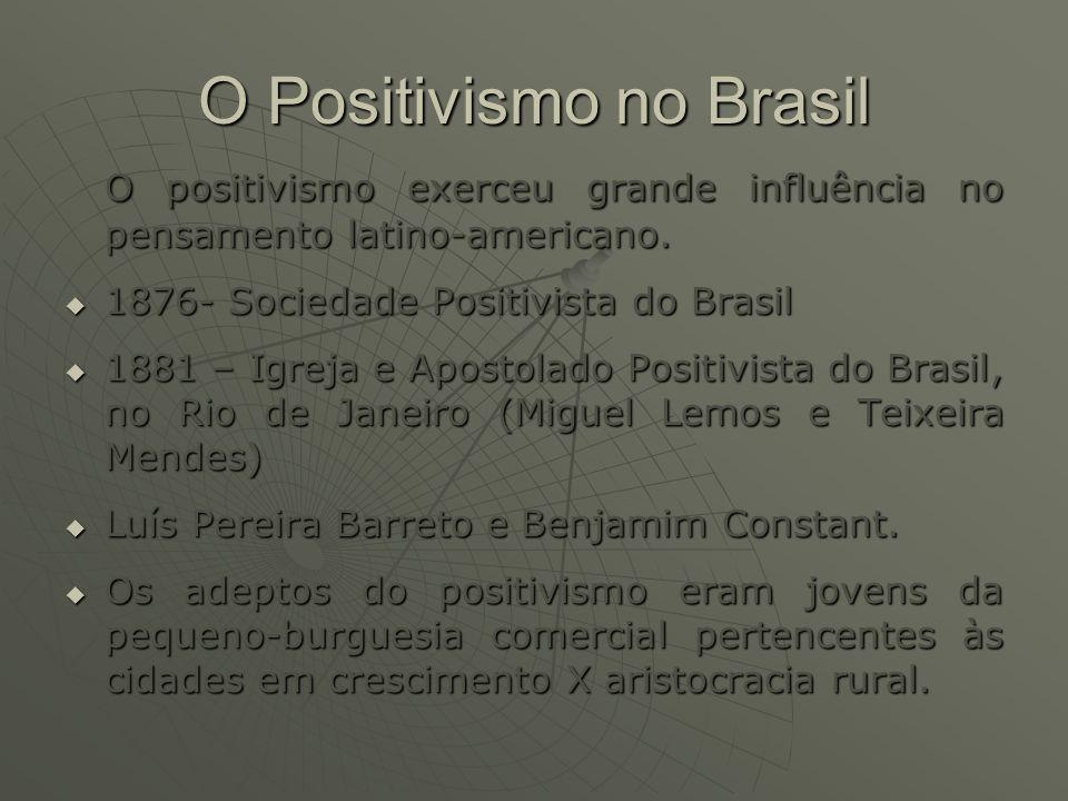 O Positivismo no Brasil O positivismo exerceu grande influência no pensamento latino-americano. O positivismo exerceu grande influência no pensamento