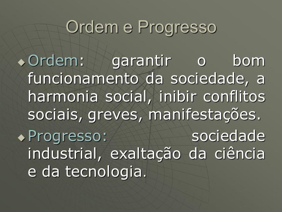 Ordem e Progresso Ordem: garantir o bom funcionamento da sociedade, a harmonia social, inibir conflitos sociais, greves, manifestações. Ordem: garanti