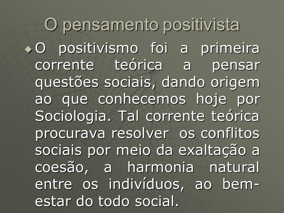 O pensamento positivista O positivismo foi a primeira corrente teórica a pensar questões sociais, dando origem ao que conhecemos hoje por Sociologia.