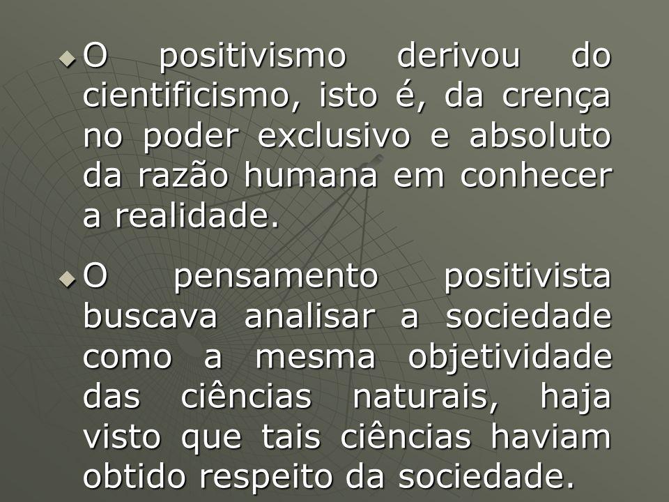 O positivismo derivou do cientificismo, isto é, da crença no poder exclusivo e absoluto da razão humana em conhecer a realidade. O positivismo derivou