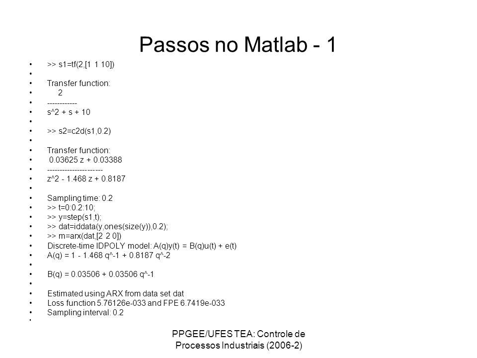 PPGEE/UFES TEA: Controle de Processos Industriais (2006-2) Passos no Matlab - 1 >> s1=tf(2,[1 1 10]) Transfer function: 2 ------------ s^2 + s + 10 >>