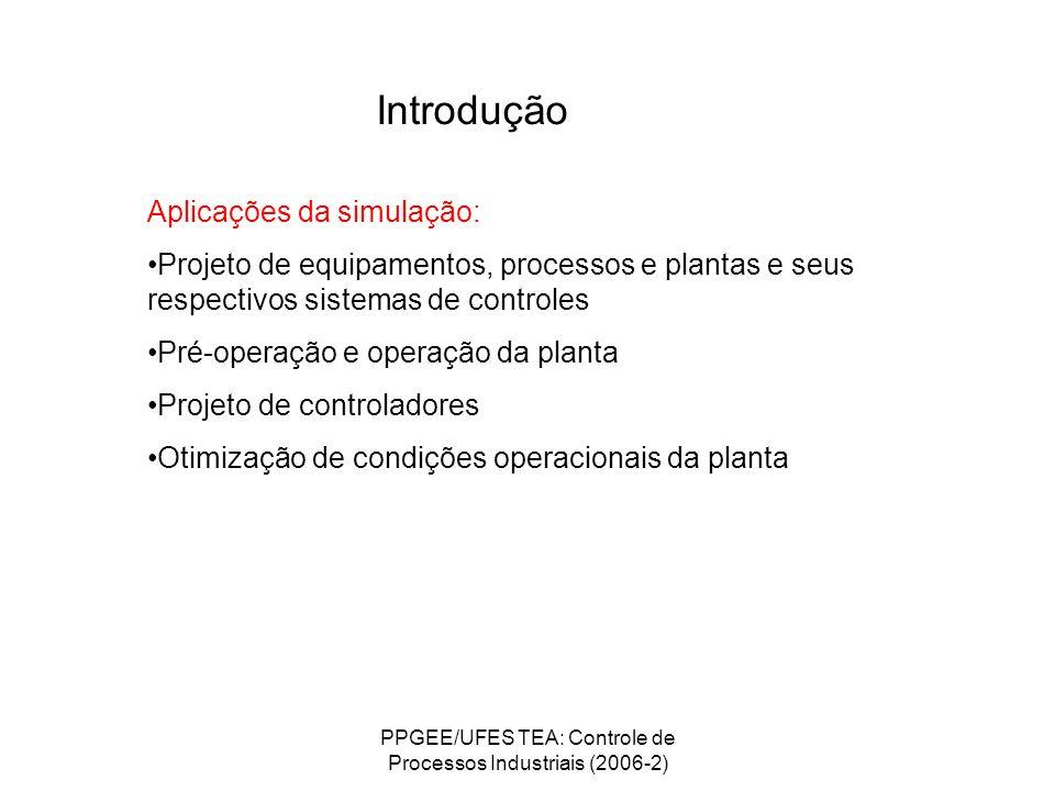 PPGEE/UFES TEA: Controle de Processos Industriais (2006-2) Introdução Aplicações da simulação: Projeto de equipamentos, processos e plantas e seus res