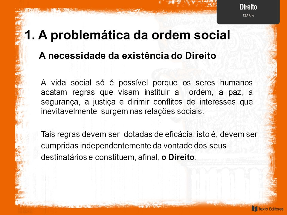 A necessidade da existência do Direito A vida social só é possível porque os seres humanos acatam regras que visam instituir a ordem, a paz, a seguran