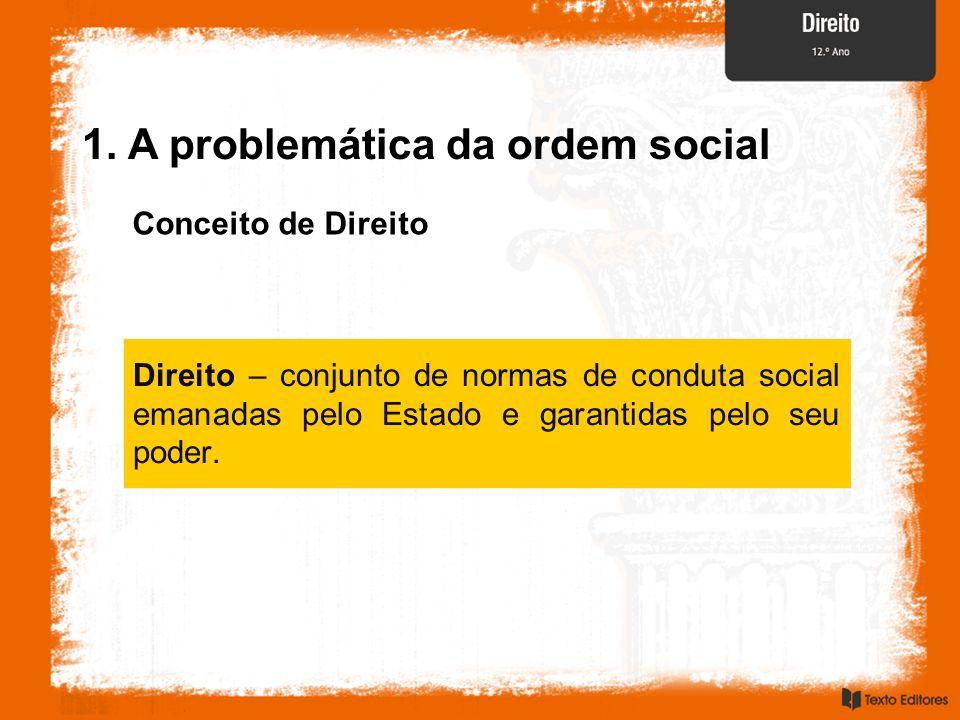 Conceito de Direito Direito – conjunto de normas de conduta social emanadas pelo Estado e garantidas pelo seu poder. 1. A problemática da ordem social