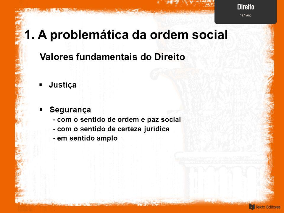 Justiça Valores fundamentais do Direito 1. A problemática da ordem social Segurança - com o sentido de ordem e paz social - com o sentido de certeza j