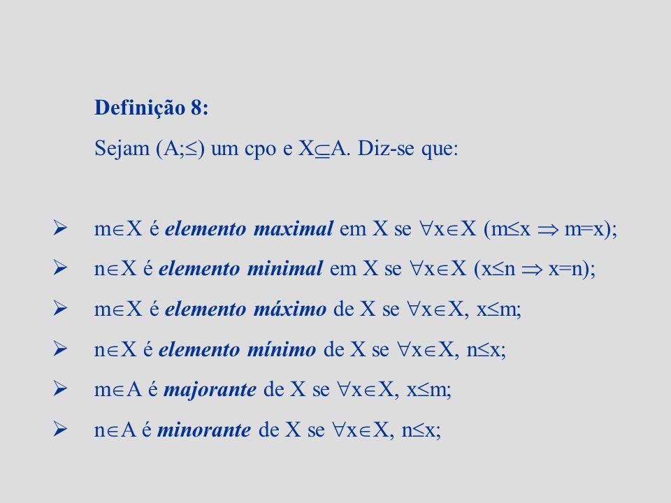 Definição 8: Sejam (A; ) um cpo e X A. Diz-se que: m X é elemento maximal em X se x X (m x m=x); n X é elemento minimal em X se x X (x n x=n); m X é e