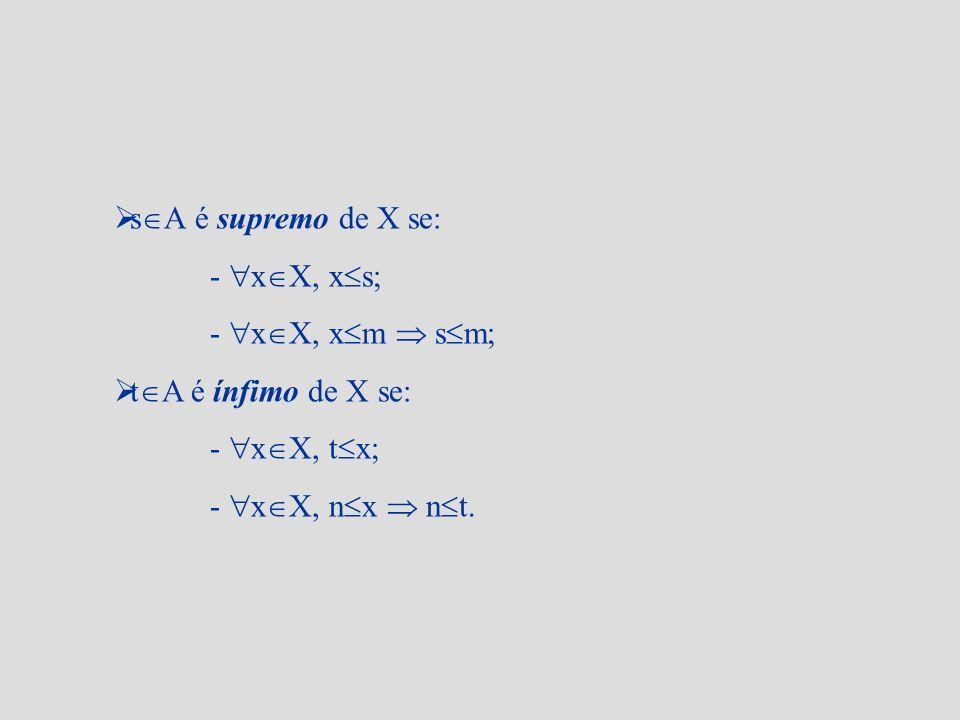 s A é supremo de X se: - x X, x s; - x X, x m s m; t A é ínfimo de X se: - x X, t x; - x X, n x n t.