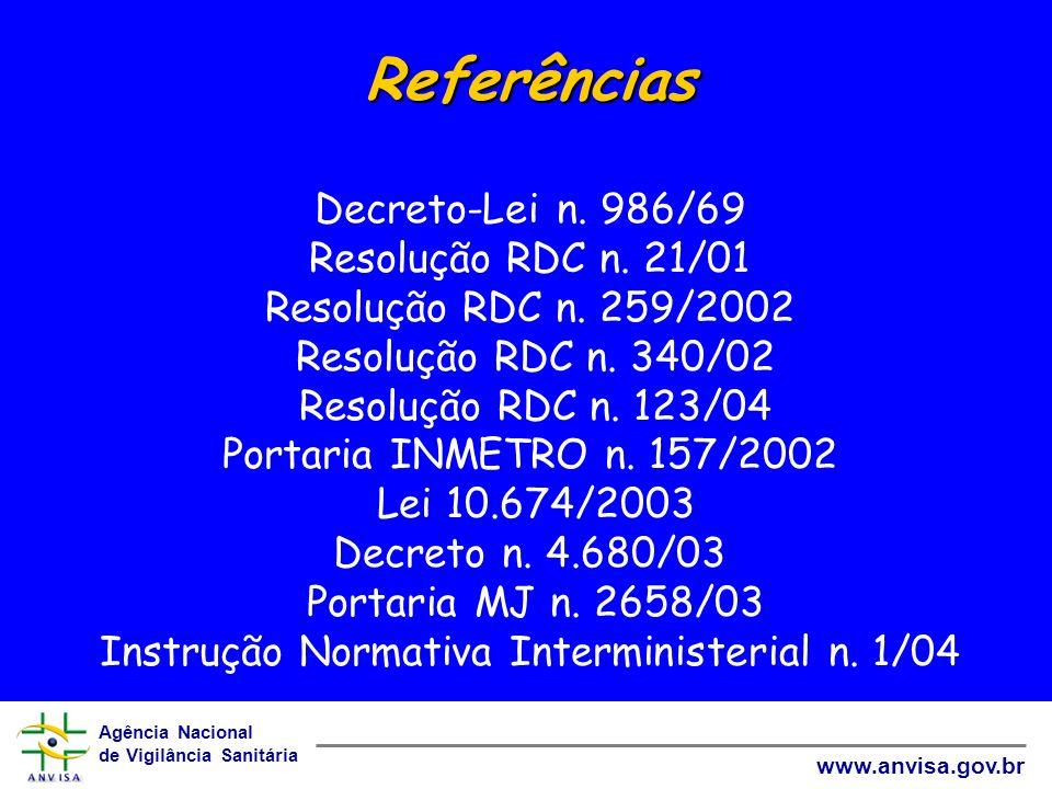 Agência Nacional de Vigilância Sanitária www.anvisa.gov.br Referências Referências Decreto-Lei n. 986/69 Resolução RDC n. 21/01 Resolução RDC n. 259/2