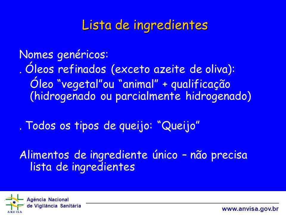Agência Nacional de Vigilância Sanitária www.anvisa.gov.br Lista de ingredientes Nomes genéricos:. Óleos refinados (exceto azeite de oliva): Óleo vege