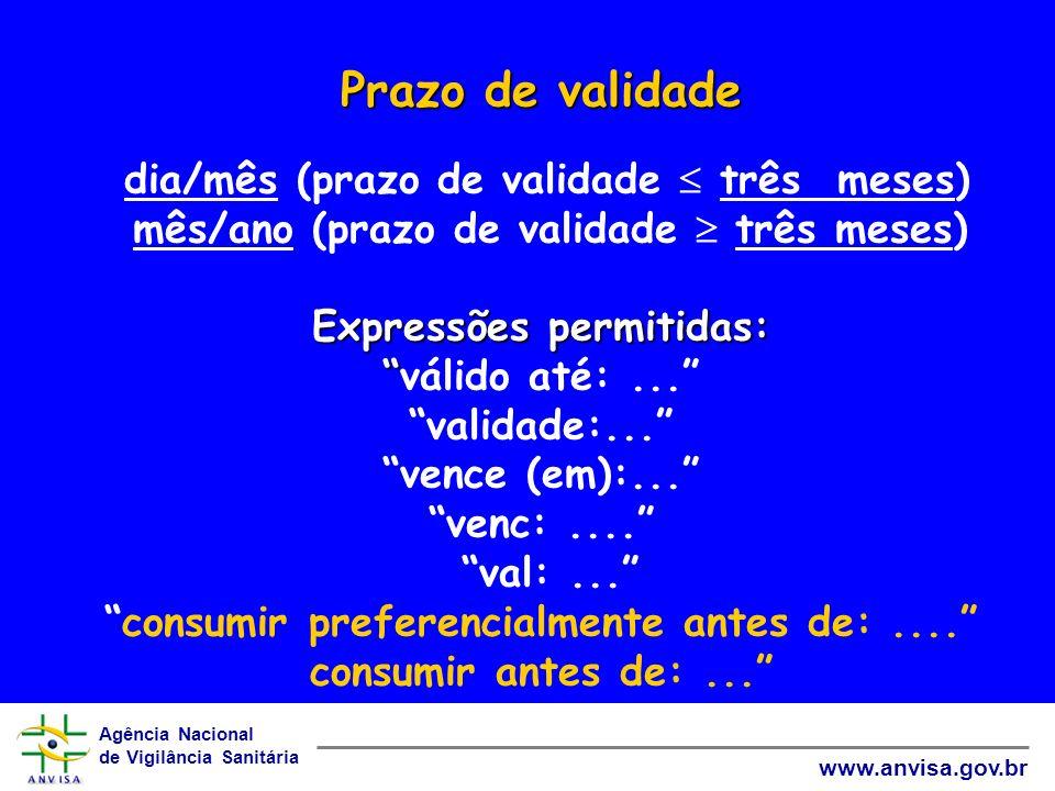 Agência Nacional de Vigilância Sanitária www.anvisa.gov.br Prazo de validade Expressões permitidas: Prazo de validade dia/mês (prazo de validade três