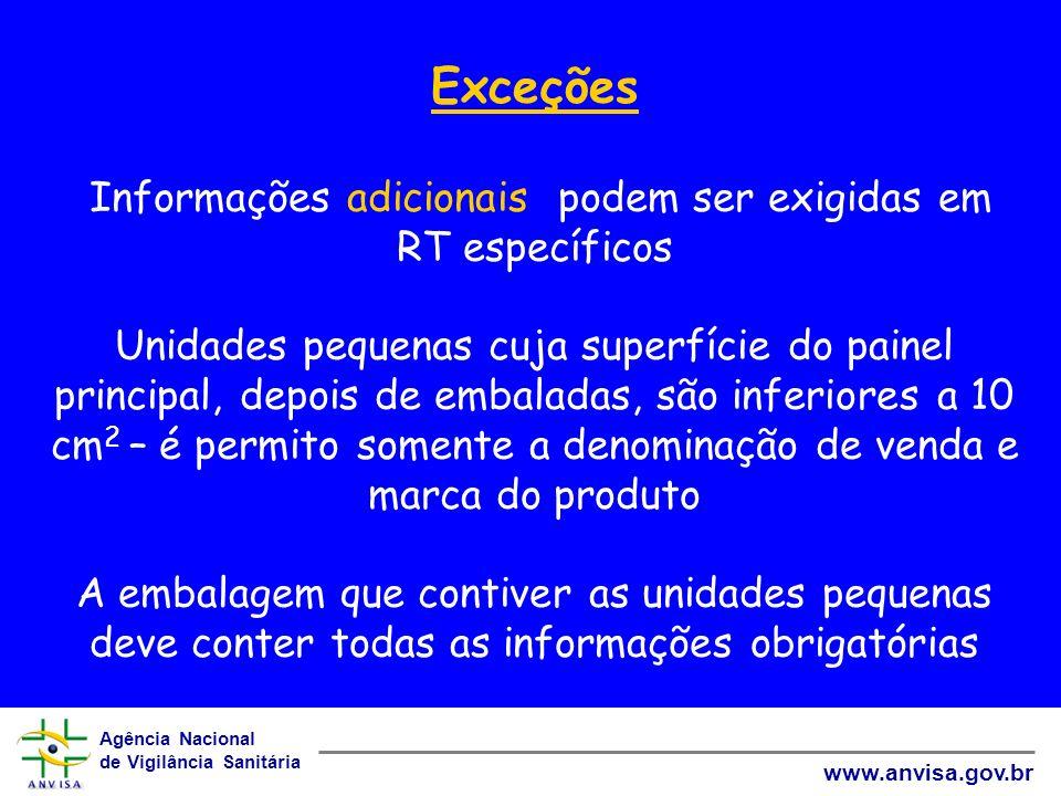Agência Nacional de Vigilância Sanitária www.anvisa.gov.br Exceções Informações adicionais podem ser exigidas em RT específicos Unidades pequenas cuja