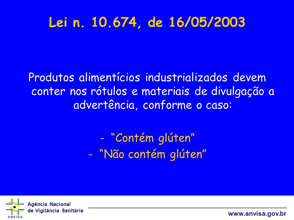Agência Nacional de Vigilância Sanitária www.anvisa.gov.br Lei n. 10.674, de 16/05/2003 Produtos alimentícios industrializados devem conter nos rótulo