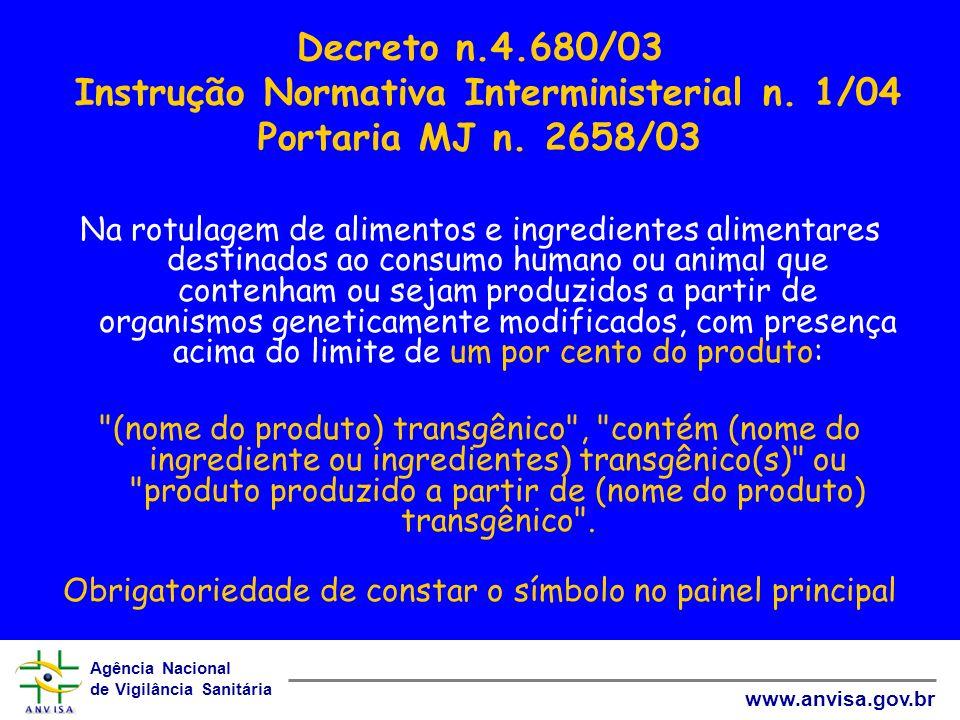 Agência Nacional de Vigilância Sanitária www.anvisa.gov.br Decreto n.4.680/03 Instrução Normativa Interministerial n. 1/04 Portaria MJ n. 2658/03 Na r