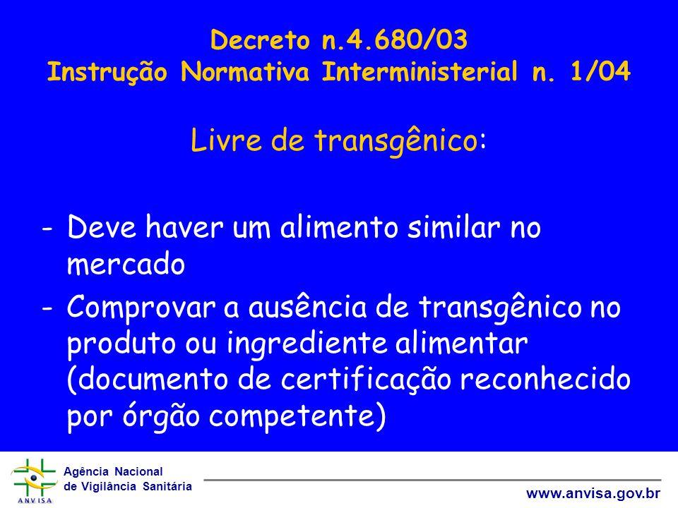 Agência Nacional de Vigilância Sanitária www.anvisa.gov.br Decreto n.4.680/03 Instrução Normativa Interministerial n. 1/04 Livre de transgênico: -Deve