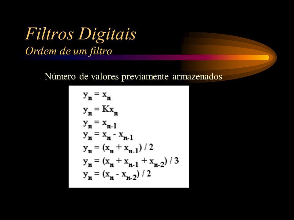 Filtros Digitais Ordem de um filtro Número de valores previamente armazenados
