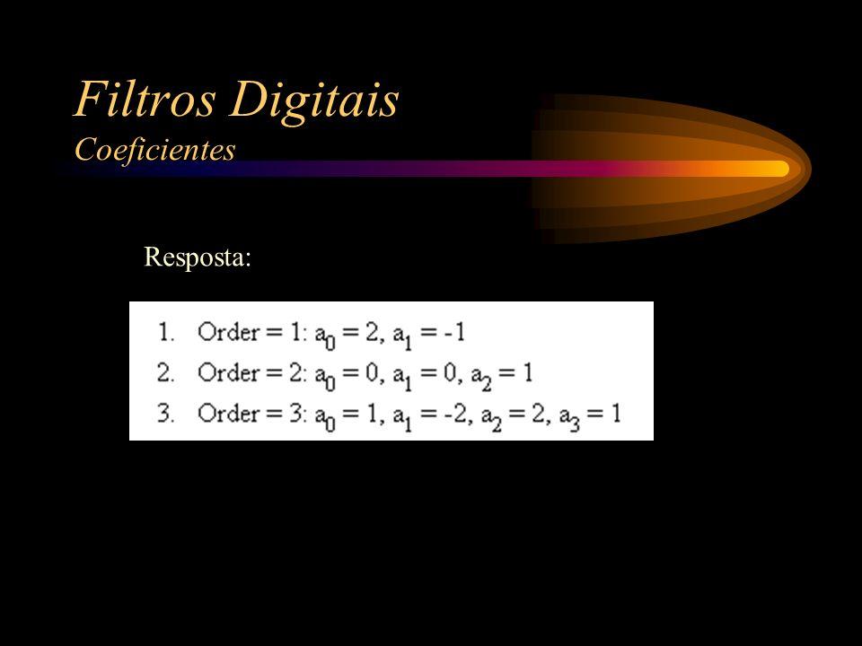 Filtros Digitais Coeficientes Resposta: