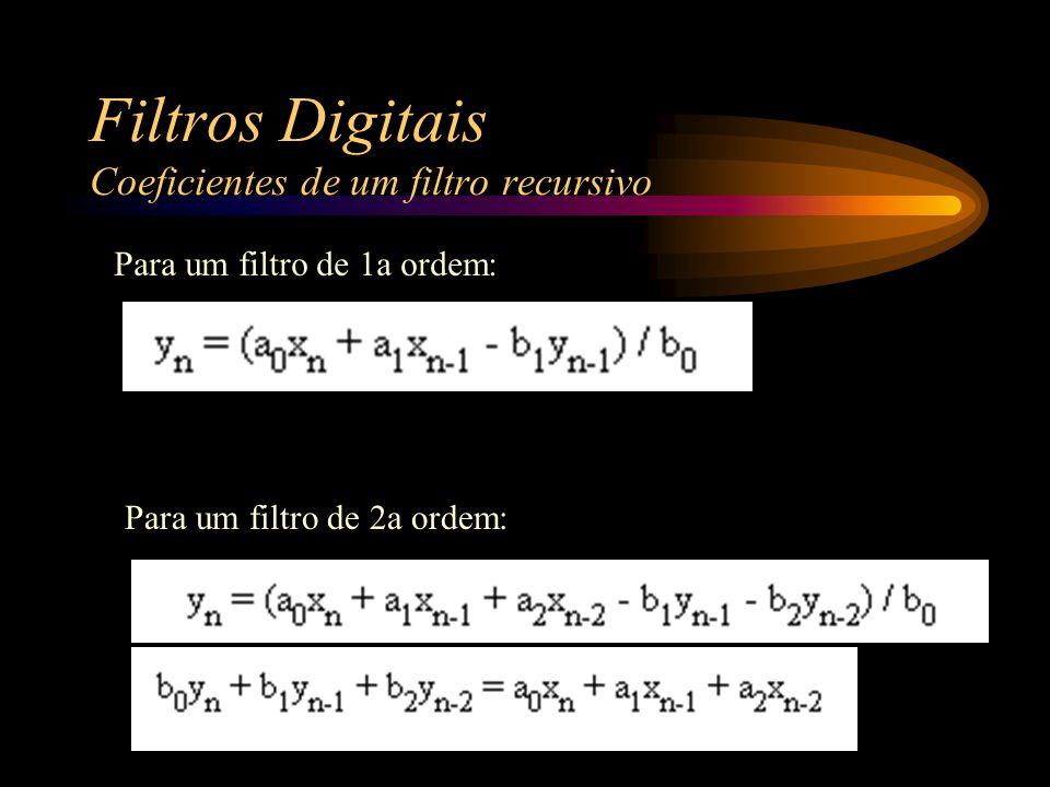 Filtros Digitais Coeficientes de um filtro recursivo Para um filtro de 1a ordem: Para um filtro de 2a ordem: