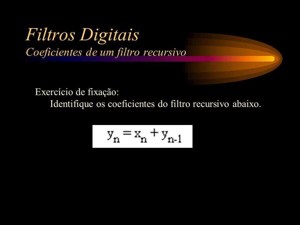 Filtros Digitais Coeficientes de um filtro recursivo Exercício de fixação: Identifique os coeficientes do filtro recursivo abaixo.