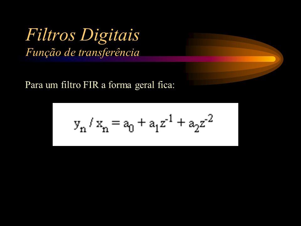 Filtros Digitais Função de transferência Para um filtro FIR a forma geral fica: