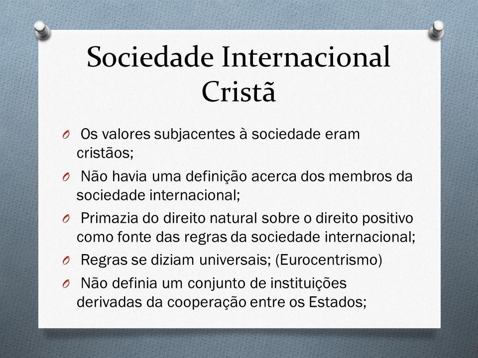 Sociedade Internacional Cristã O Os valores subjacentes à sociedade eram cristãos; O Não havia uma definição acerca dos membros da sociedade internaci