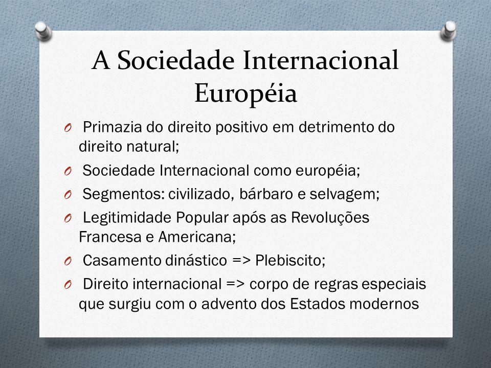 A Sociedade Internacional Européia O Primazia do direito positivo em detrimento do direito natural; O Sociedade Internacional como européia; O Segment