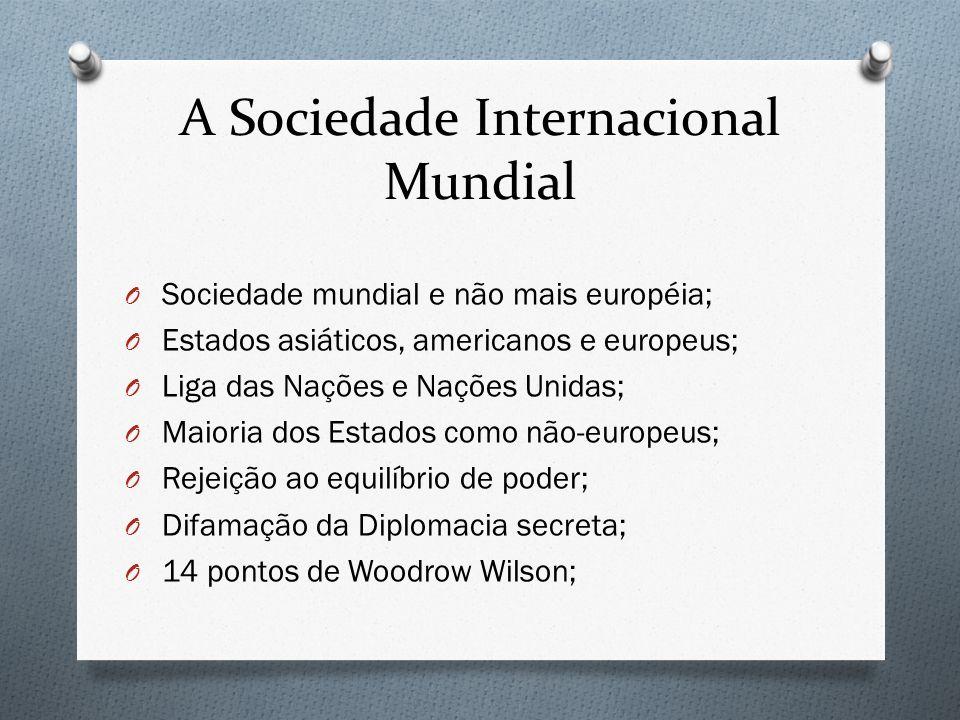 A Sociedade Internacional Mundial O Sociedade mundial e não mais européia; O Estados asiáticos, americanos e europeus; O Liga das Nações e Nações Unid