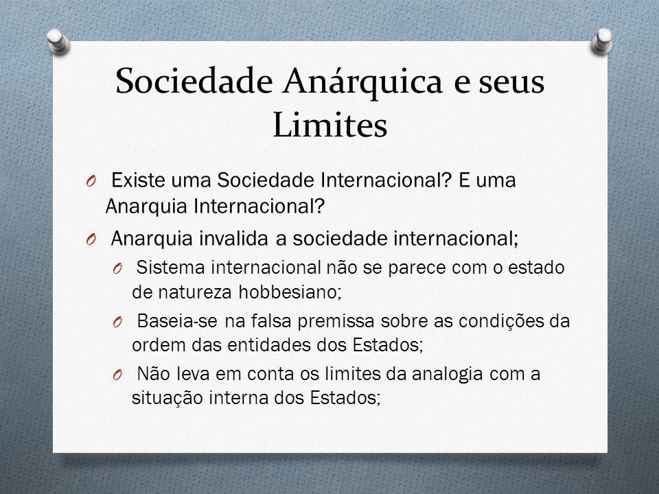 Sociedade Anárquica e seus Limites O Existe uma Sociedade Internacional? E uma Anarquia Internacional? O Anarquia invalida a sociedade internacional;