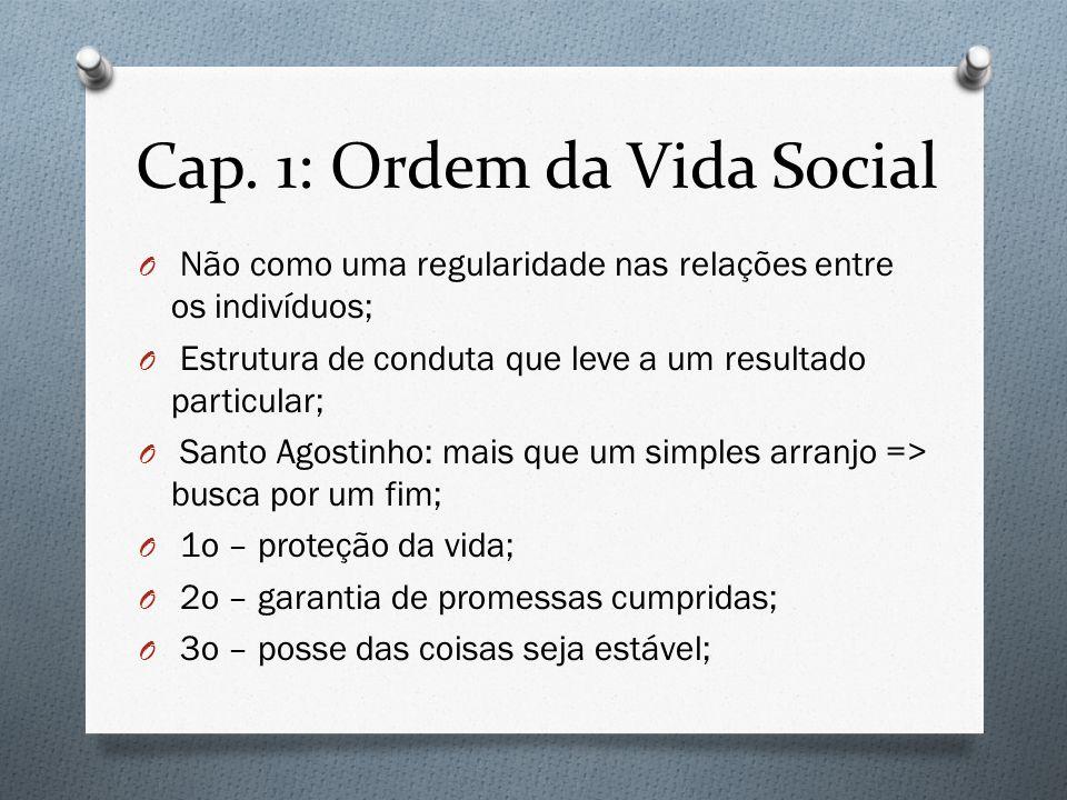 Cap. 1: Ordem da Vida Social O Não como uma regularidade nas relações entre os indivíduos; O Estrutura de conduta que leve a um resultado particular;