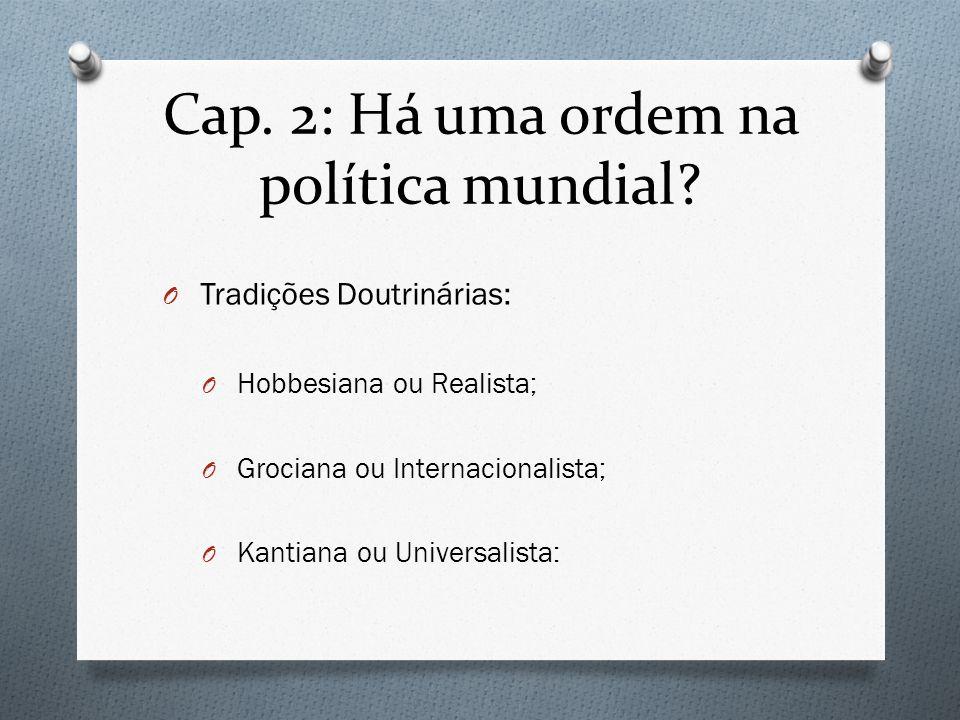 Cap. 2: Há uma ordem na política mundial? O Tradições Doutrinárias: O Hobbesiana ou Realista; O Grociana ou Internacionalista; O Kantiana ou Universal