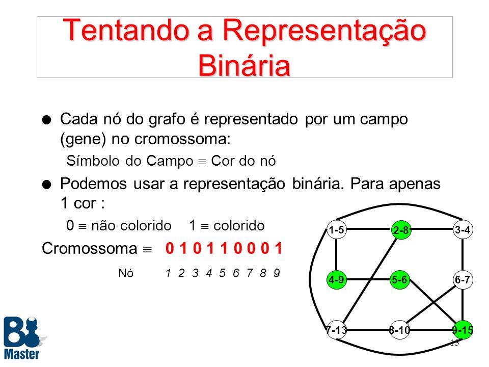 12 Componentes de um Algoritmo Genético 1. Problema 2. Representação 3. Decodificação 4. Avaliação 5. Operadores 6. Técnicas 7. Parâmetros
