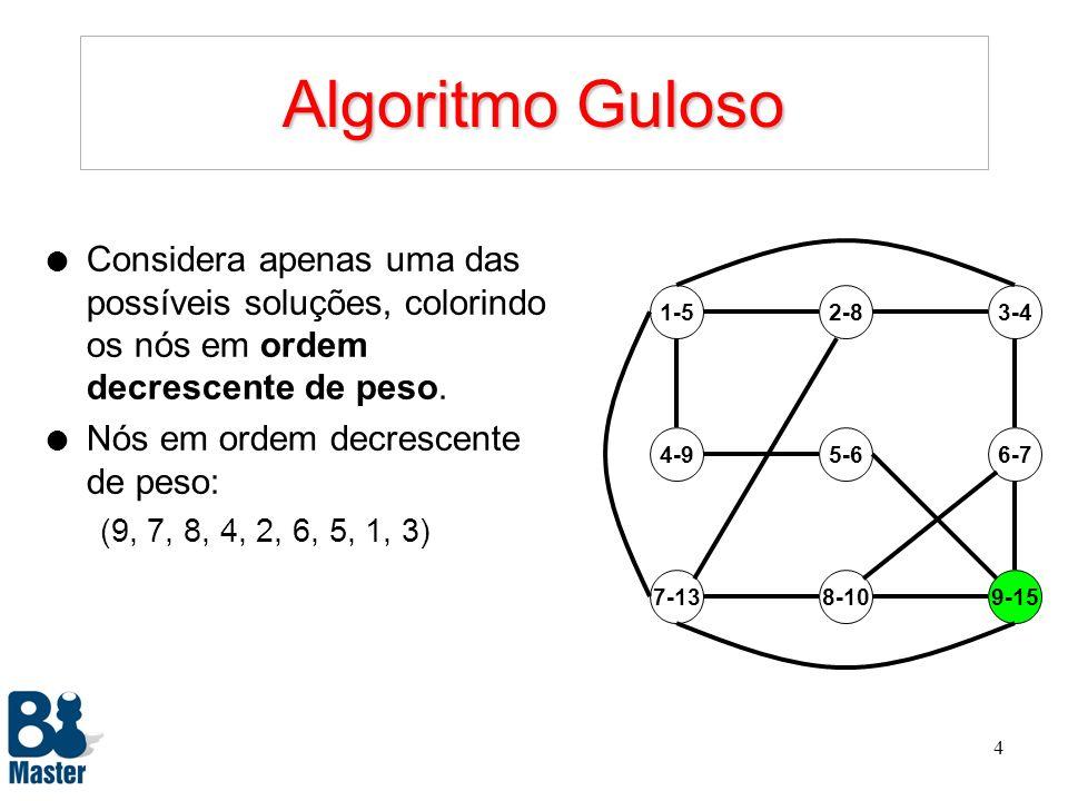 3 Problema de Colorir o Grafo 1-5 9-158-107-13 4-95-66-7 2-83-4 l Regras: –Colorir os nós do grafo de modo a maximizar a soma total dos pesos. –Pares