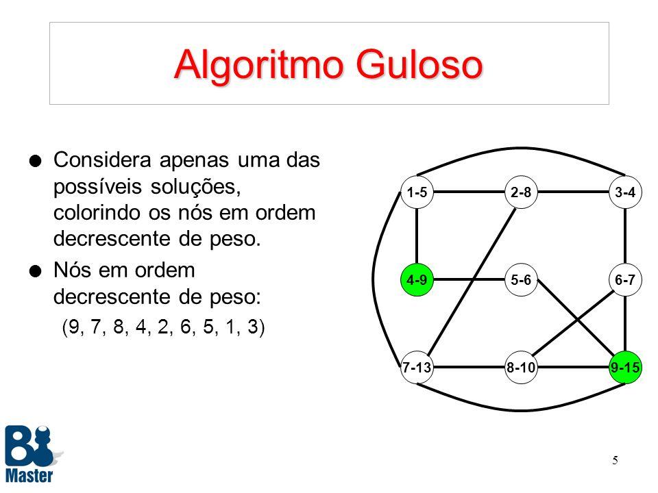 4 Algoritmo Guloso l Considera apenas uma das possíveis soluções, colorindo os nós em ordem decrescente de peso. l Nós em ordem decrescente de peso: (
