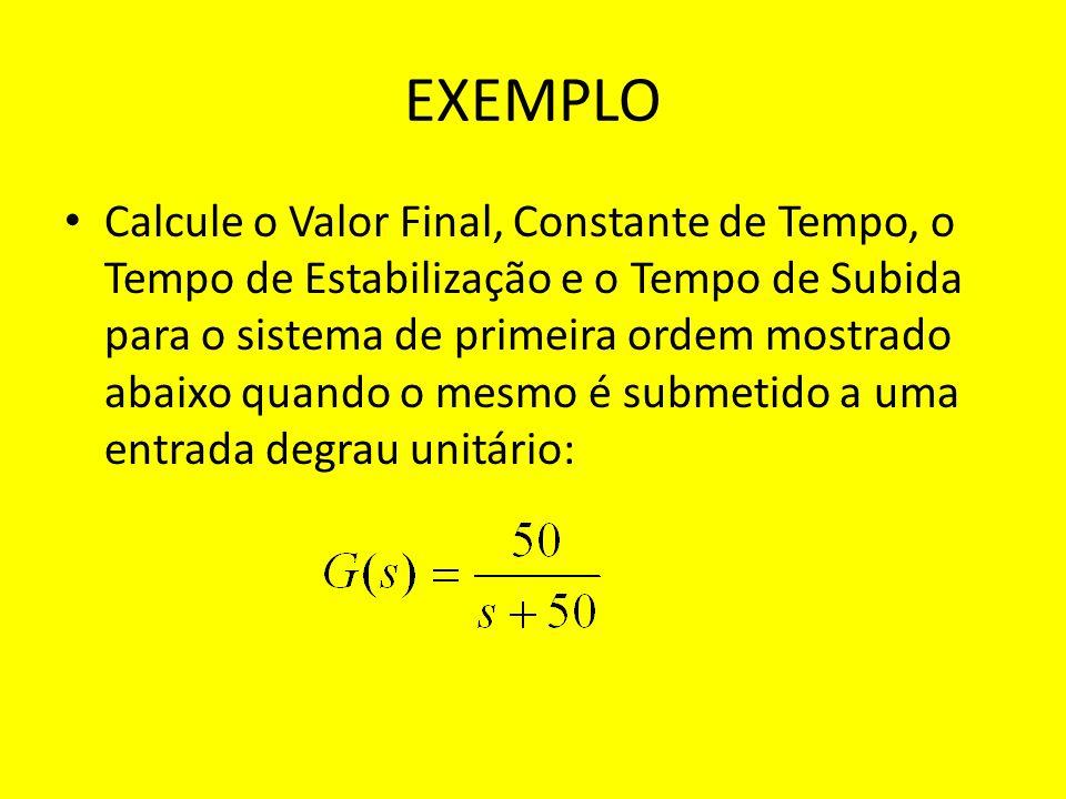 EXEMPLO Calcule o Valor Final, Constante de Tempo, o Tempo de Estabilização e o Tempo de Subida para o sistema de primeira ordem mostrado abaixo quand