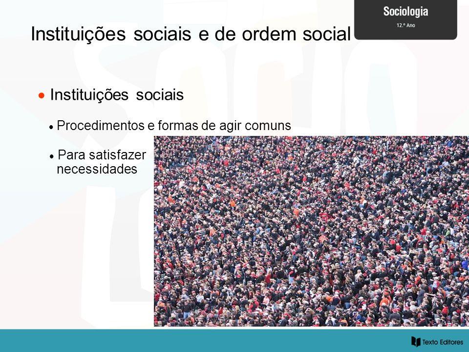 Instituições sociais e de ordem social Instituições sociais Procedimentos e formas de agir comuns Para satisfazer necessidades