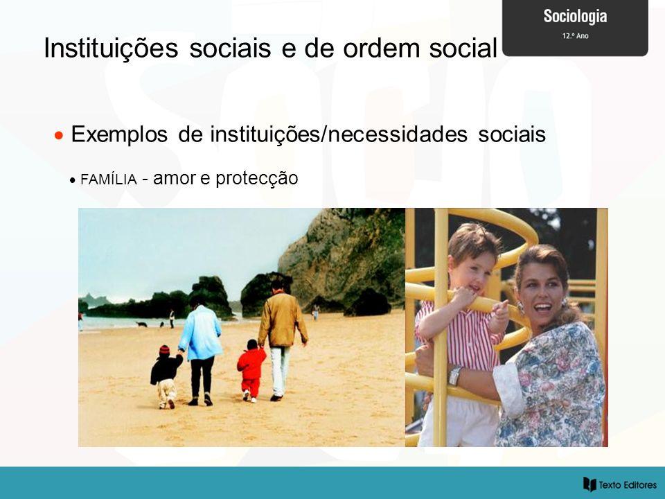 Instituições sociais e de ordem social Exemplos de instituições/necessidades sociais FAMÍLIA - amor e protecção
