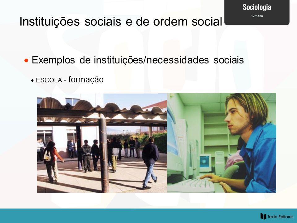 Instituições sociais e de ordem social Exemplos de instituições/necessidades sociais ESCOLA - formação