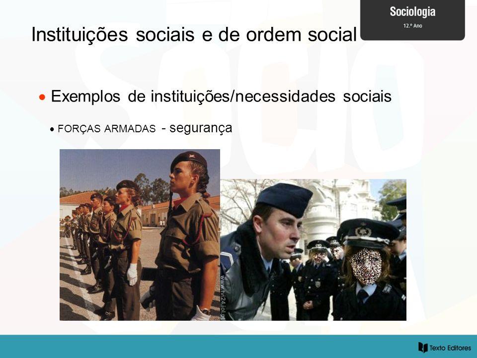 Instituições sociais e de ordem social Exemplos de instituições/necessidades sociais FORÇAS ARMADAS - segurança