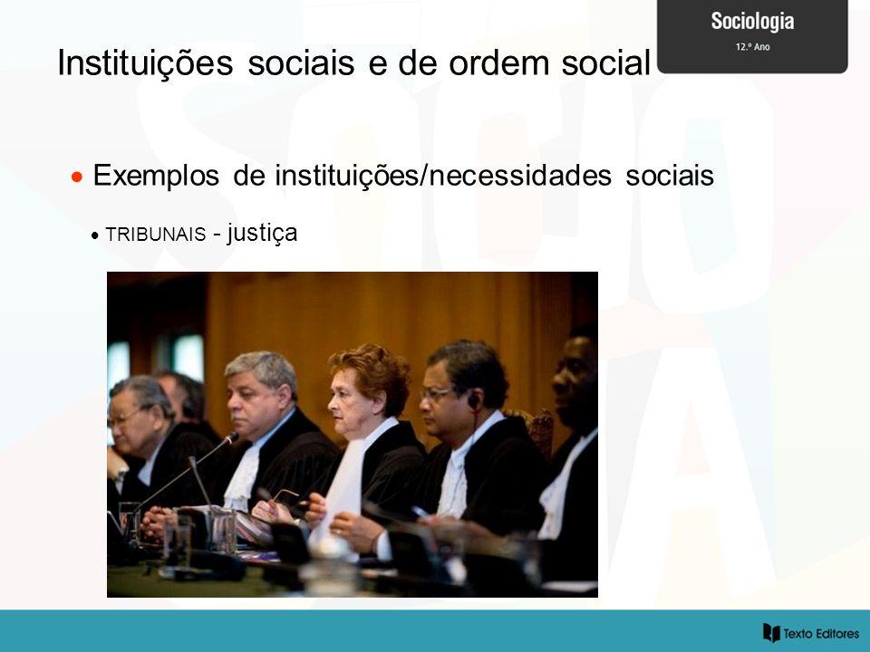 Instituições sociais e de ordem social Exemplos de instituições/necessidades sociais TRIBUNAIS - justiça