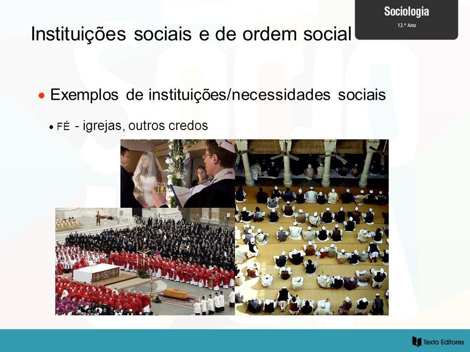 Instituições sociais e de ordem social Exemplos de instituições/necessidades sociais FÉ - igrejas, outros credos