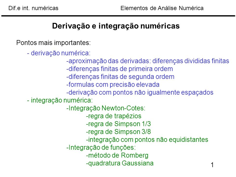 Elementos de Análise NuméricaDif.e int. numéricas