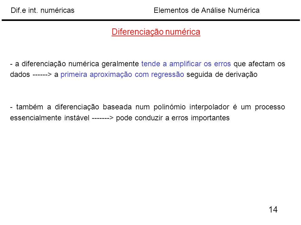 Elementos de Análise NuméricaDif.e int. numéricas Diferenciação numérica - a diferenciação numérica geralmente tende a amplificar os erros que afectam