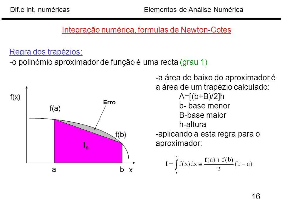 Elementos de Análise NuméricaDif.e int. numéricas Integração numérica, formulas de Newton-Cotes Regra dos trapézios: -o polinómio aproximador de funçã